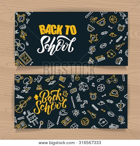 Back To School Vector Sketch Lettering And Hand Drawn School Stationery. Set Of Black Board Backgrou