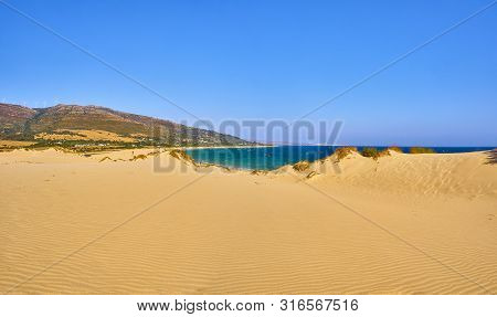 Punta Paloma Beach, A Unspoiled White Sand Beach Of The Nature Park Del Estrecho. View From The Dune