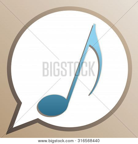 Music Note Sign. Bright Cerulean Icon In White Speech Balloon At Pale Taupe Background. Illustration