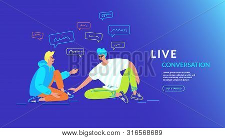 Casual Friends Talking And Smiling Together. Gradient Vector Illustration Of Two Teenage Guys Are Si