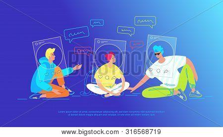 Casual Friends Talking In Social Media As Accounts Profiles. Gradient Conceptual Vector Illustration