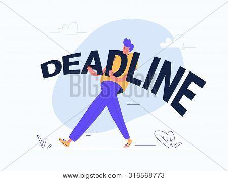 Young Man Carrying Heavy Deadline Word. Flat Modern Concept Vector Illustration Of Burden Of Deadlin