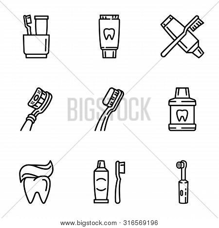 Healthy Toothcare Icon Set. Outline Set Of 9 Healthy Toothcare Vector Icons For Web Design Isolated