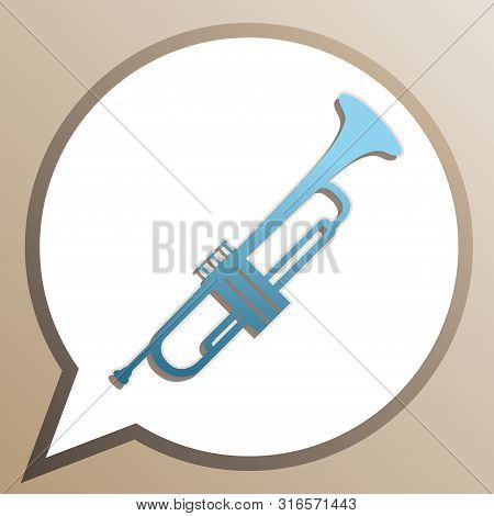 Musical Instrument Trumpet Sign. Bright Cerulean Icon In White Speech Balloon At Pale Taupe Backgrou