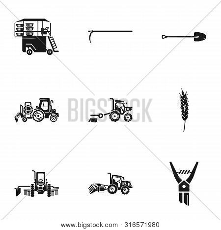 Agronomy Machinery Icon Set. Simple Set Of 9 Agronomy Machinery Vector Icons For Web Design Isolated