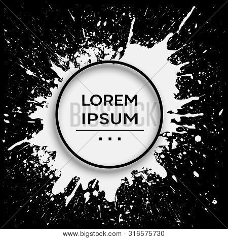 Abstract Ink Splatter Design Template. Abstract Template With Splash. Vector And Illustration.