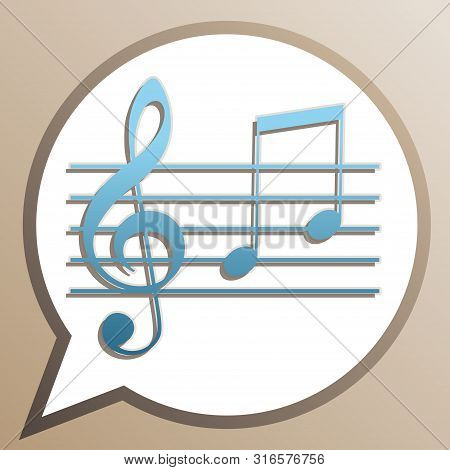 Music Violin Clef Sign. G-clef And Notes G, H. Bright Cerulean Icon In White Speech Balloon At Pale