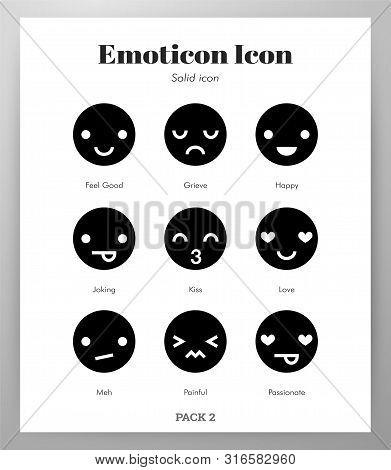 Emoticon Vector Illustration In Solid Color Design