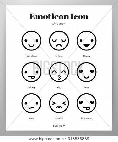 Emoticon Vector Illustration In Line Stroke Design