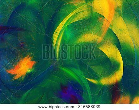 Green Abstract Fractal Background 3D Rendering Illustration