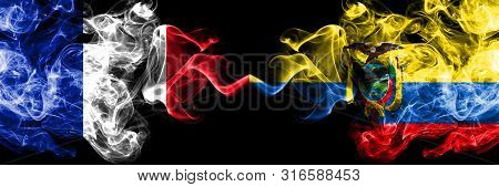 France Vs Ecuador, Ecuadorian Smoky Mystic Flags Placed Side By Side. Thick Colored Silky Abstract S