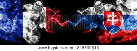 France Vs Slovakia, Slovakian Smoky Mystic Flags Placed Side By Side. Thick Colored Silky Abstract S