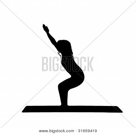 Yoga silhouette of a beautiful young women