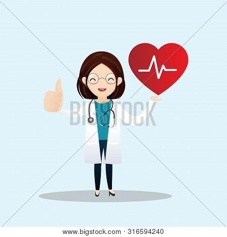 Happy Doctor With Good Heart Rate And Showing Thumbs Up. Vector Illustration.