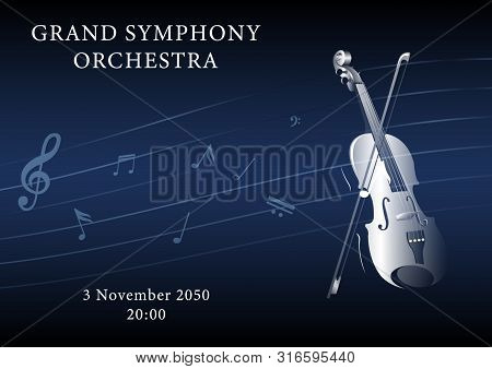 Classical Music Poster. Violin With A Bow And Musical Notes On A Dark Duo Gradient Background. Reali