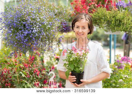 Pretty female garden center staff with bunch of petunias in hands