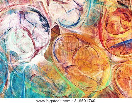 Orange Abstract Fractal Background 3D Rendering Illustration