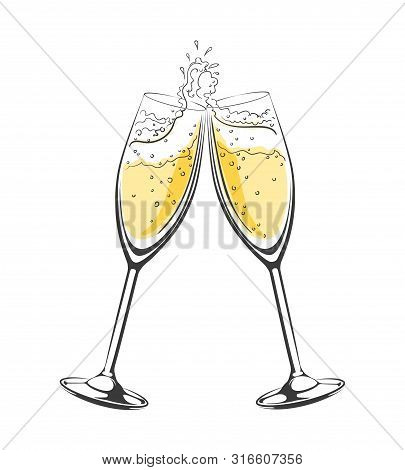 Champagne Cheers. Vector Hand Drawn Champagne Glasses In Toast, Luxury Cheersing Sketch Icon, Romant