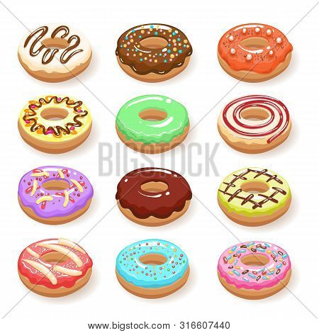 Sugar Sweet Donuts. Color Donut Cakes Isolated On White Background, Doughnuts Sweets Design Art, Vec
