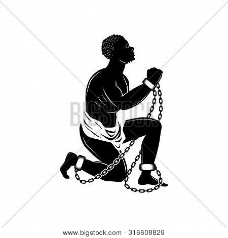 Abolition Of Slavery Amendment. Slave Illustration. Towards Freedom. Man In Chains. Slave Owners. Ve