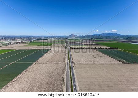 Aerial view of farm fields along East 5th Street near Camarillo in scenic Ventura County, California.