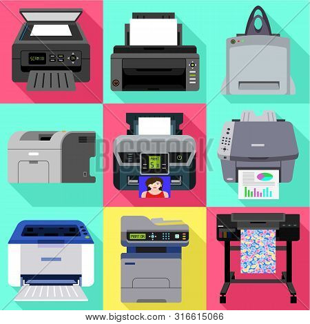 Commercial Printer Icon Set. Flat Set Of 9 Commercial Printer Vector Icons For Web Design Isolated O