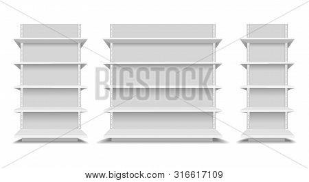 Upermarket Shelfs Mockup. Store Or Shop Shelving Set Vector Illustration, Supermarkets Empty Shelve