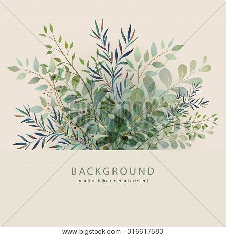 Handdrawn Vector Watercolour Style, Nature Illustration. Background With Leaves And Branches