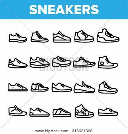 Collection Sneakers Thin Line Icons Set Vector. Man And Woman Shoes Sneakers Linear Pictograms. Boot