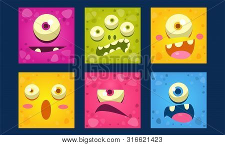 Cute Monsters Emoticons Set, Colorful Mutant Emojis With Funny Faces Vector Illustration