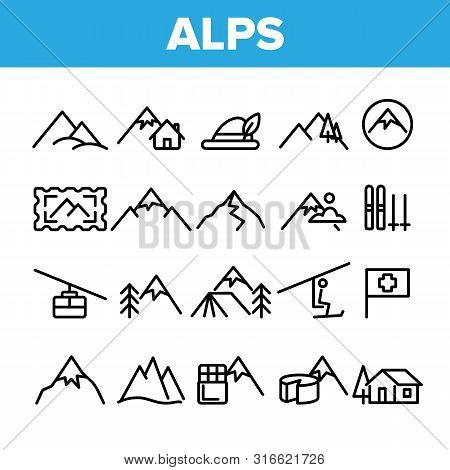 Collection Mountain Alps Sign Icons Set Vector Thin Line. Cable Way, Funicular And House On Alps Hil