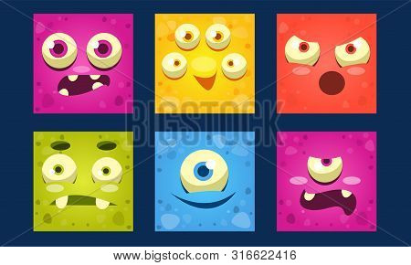 Funny Monsters Set, Colorful Square Mutant Emojis, Cute Emoticons With Different Emotions Vector Ill