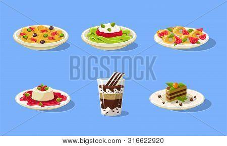 Tasty Dishes Set, Delicious Food, Spaghetti, Souffle, Cake, Milkshake Vector Illustration
