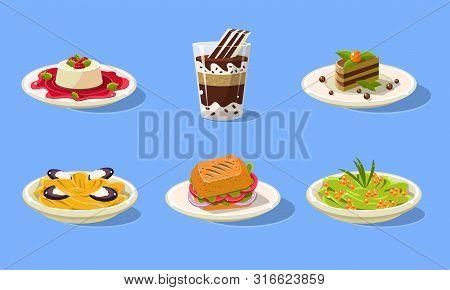 Tasty Dishes Set, Delicious Food, Spaghetti, Sandwich, Souffle, Cake, Milkshake Vector Illustration