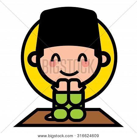 Selamat Hari Raya Aidilfitri. Cute Muslim Kid Praying In Ramadan. Muslim Character Wearing Songkok A
