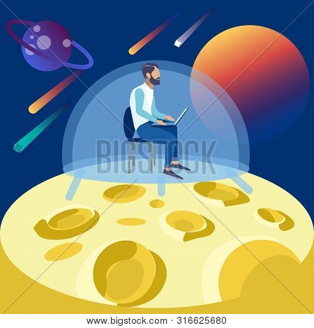 The Programmer Works On The Moon, Seclusion In Space. In Minimalist Style Cartoon Flat Raster