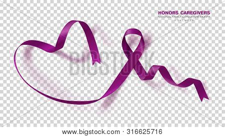 Honors Caregivers. National Family Caregivers Month. Plum Color Ribbon Isolated On Transparent Backg