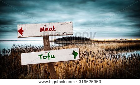 Street Sign To Tofu Versus Meat