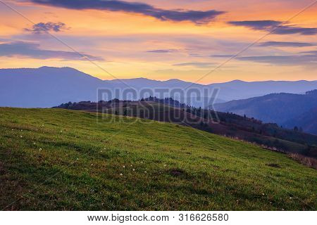 Beautiful Mountain Landscape In Autumn. Grassy Meadow On Rolling Hills At Dusk. Borzhava Ridge In Th