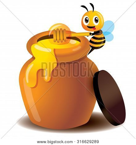 Cartoon Cute Bee Use Honey Dipper To Take Honey From Honey Pot - Vector Isolated