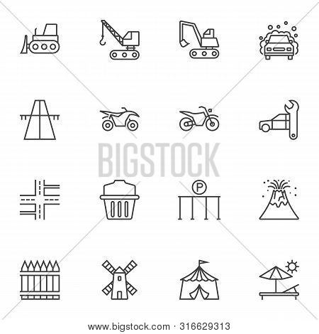 Miscellaneous Line Icons Set. Linear Style Symbols Collection, Outline Signs Pack. Vector Graphics.