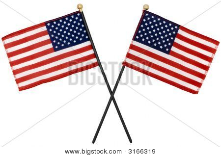 Two American Flags With Selection Path