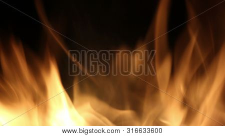 Campfire In The Night. Burning Logs In Orange Flames Close Up. Background Of The Fire. Beautiful Fir