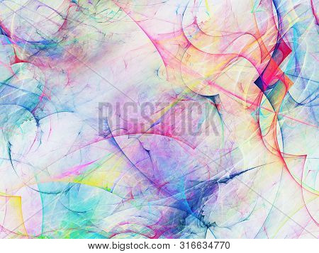 Rainbow Abstract Fractal Background 3D Rendering Illustration