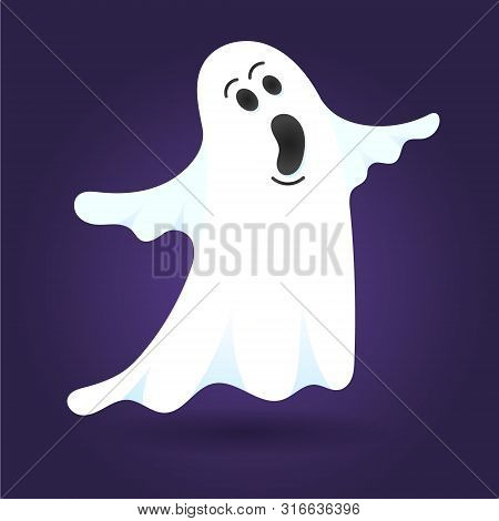 Cute Ghost Character Flat Style Design Vector Illustration Isolated On Dark Background. Halloween Bo