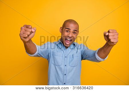 Closeup Photo Of Dark Skin Guy Raise Hands Yell Loud Football Team Win Wear Jeans Denim Shirt Isolat