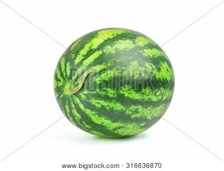 Ripe Single Full Watermelon Berry Isolated On White Background. One Whole Watermelon With Clipping P