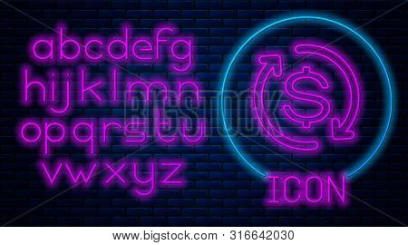 Glowing Neon Return Of Investment Icon Isolated On Brick Wall Background. Money Convert Icon. Refund