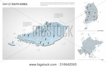 Vector Set Of South Korea Country.  Isometric 3d Map, South Korea Map, Asia Map - With Region, State