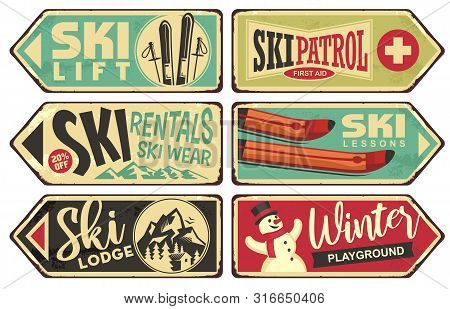 Ski And Winter Holiday Retro Signs Collection. Vintage Vector Illustration With Winter Vacation And